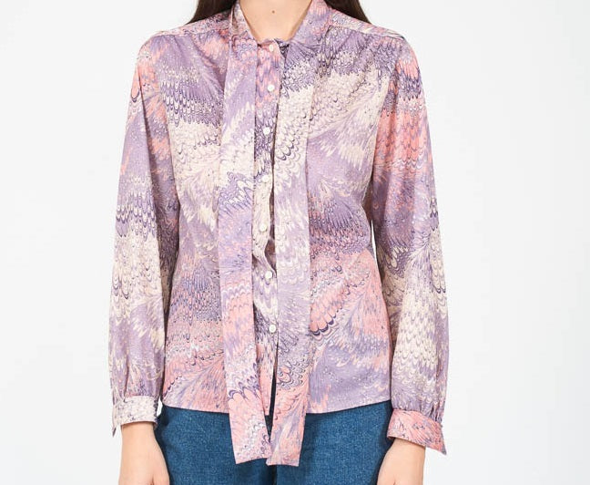 70s printed shirt with bow