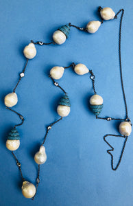 Baroque Pearl Turquoise Zircon Long Necklace