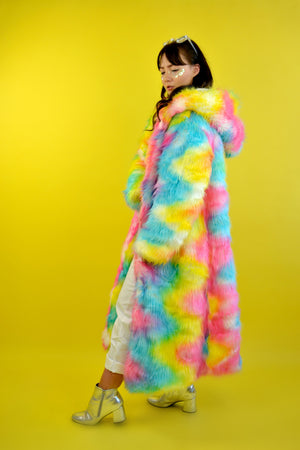 Psychedelic rainbow fur maxi coat