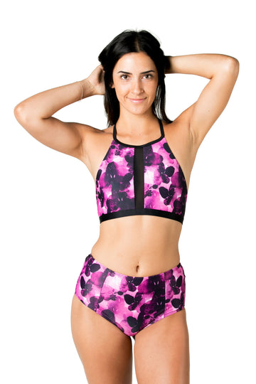 Beach Bum High Waisted Bikini Bottoms (Fuchsia Night) Swim and Surf Bottoms Mona