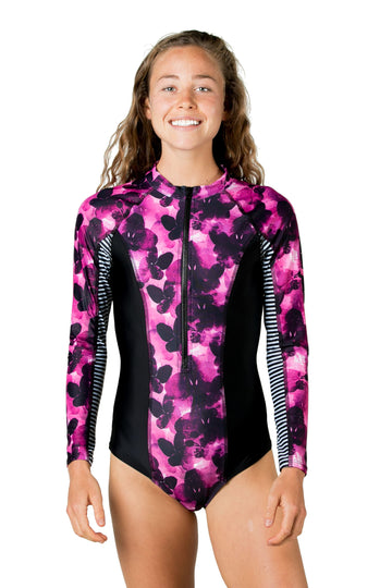 The Drifter Long Sleeve One Piece Surf Suit (Fuchsia Night / Solid Black) Swim and Surf One Piece Suits Mona