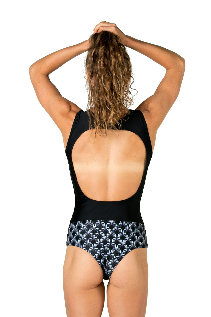 The Wild Love One Piece Surf Suit (Black Shells / Solid Black) Swim and Surf One Piece Suits Mona