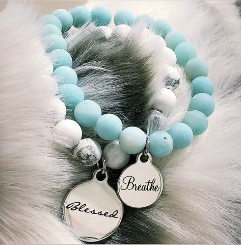 Blessed and Breathe Bracelets on White Howlite and Amazonite