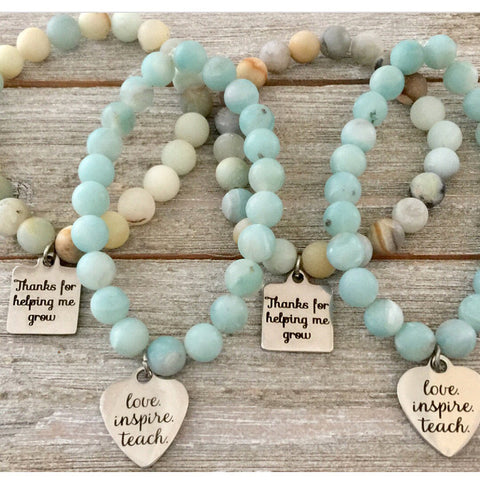 Choice of Teacher Charm Bracelet or Faith Hope Love on White Howlite or Amazonite Bead Bracelets