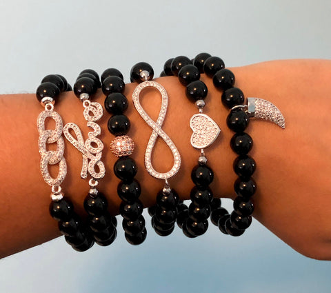 Black Onyx Bead Bracelets with Pavé charms