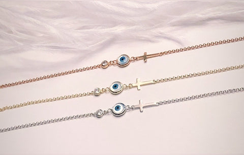 Evil Eye and Cross Bracelet in Yellow- Rose (SILVER SOLD OUT) in 925 Italian Sterling Silver Finish