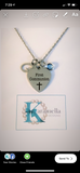 Confirmation or Communion Necklace with Initial and Birthstone