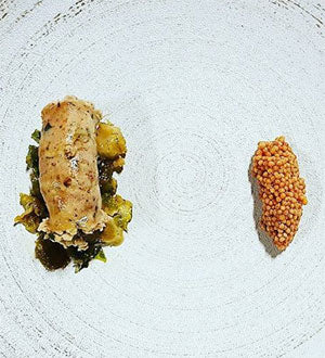 Grilled Alligator Sausage, Maple Braised Brussel Sprouts, & Ale Pickled Mustard Seeds