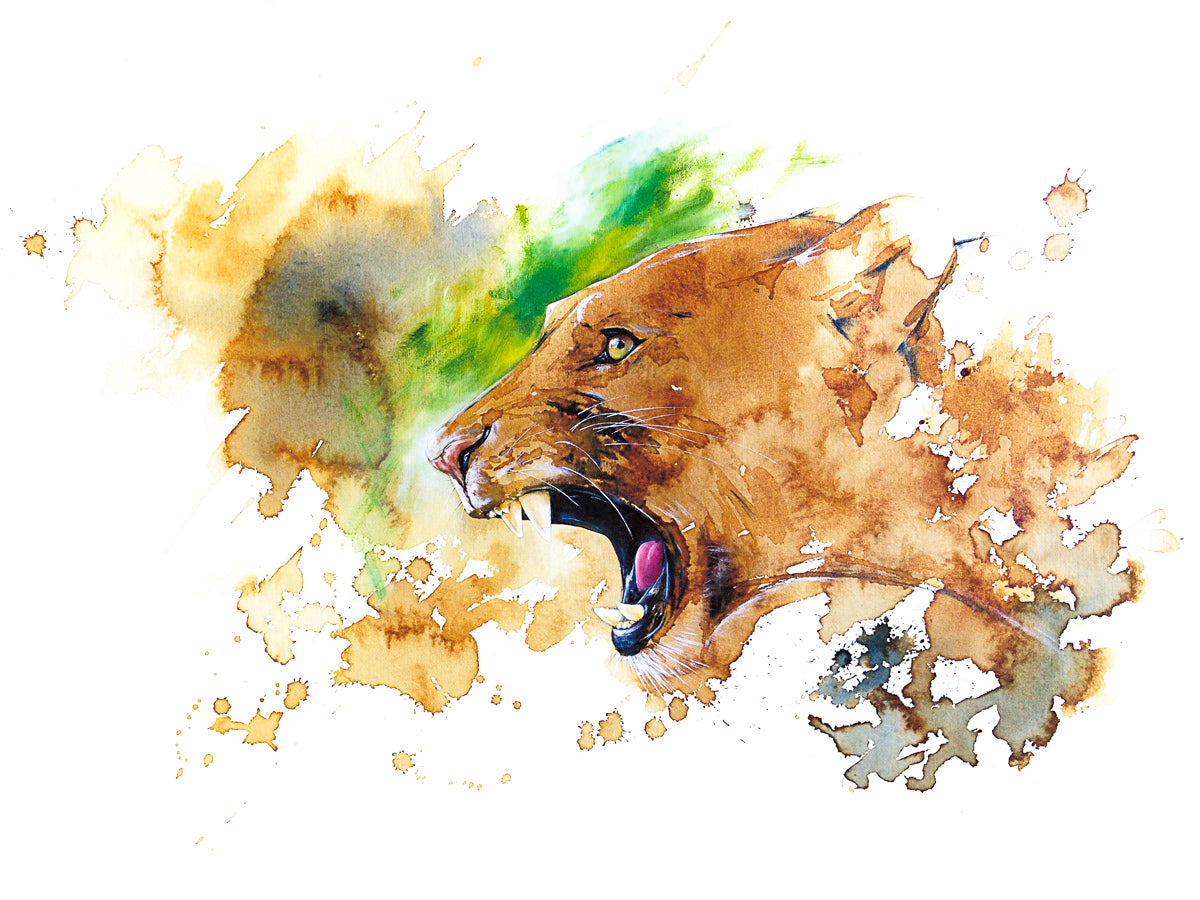 Lioness Green (original coffee & ink)