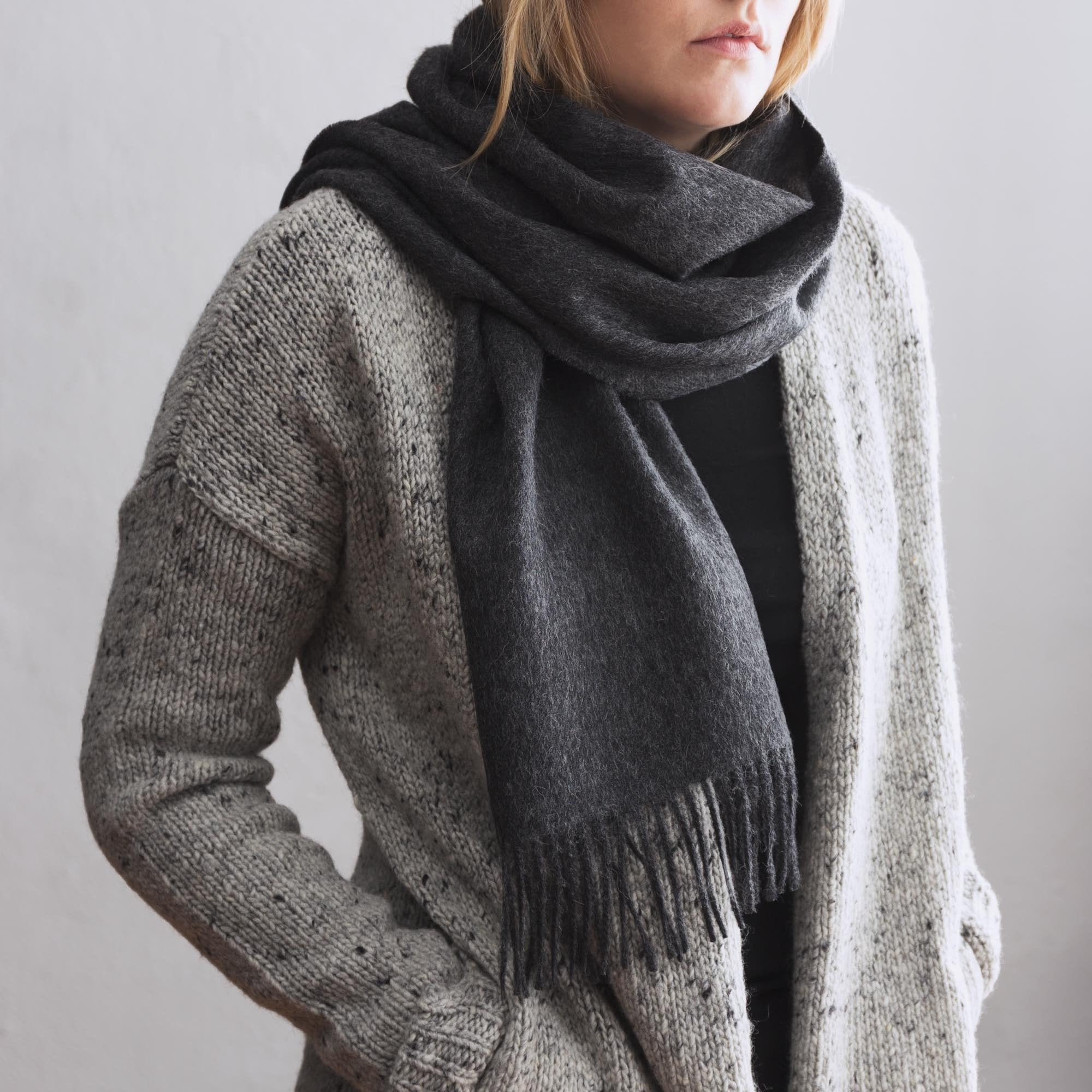 Limon scarf, charcoal, 100% baby alpaca wool