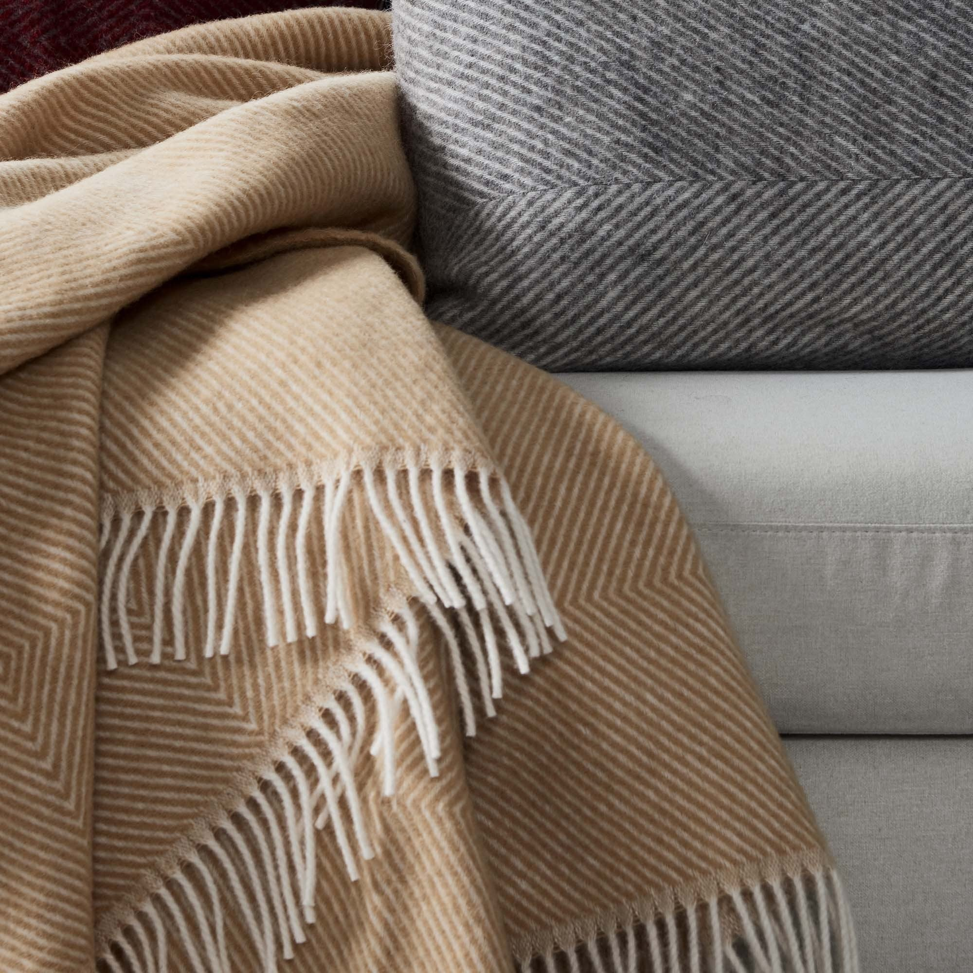 Gotland Wool Blanket in mustard & cream | Home & Living inspiration | URBANARA