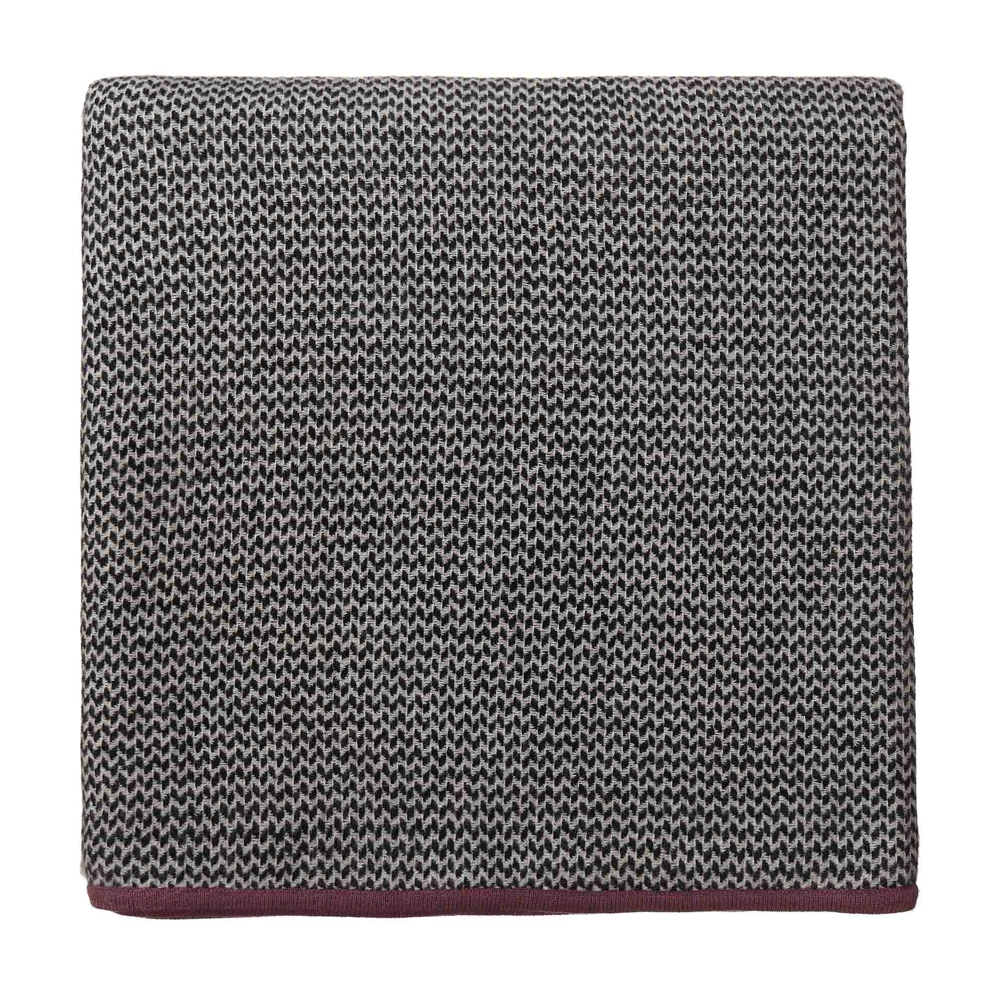Foligno Cashmere Blanket black & cream & raspberry rose, 100% cashmere wool