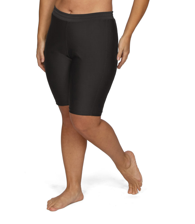 womens plus size swim shorts long black