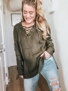 Fallon Lace Up Sweater | Olive