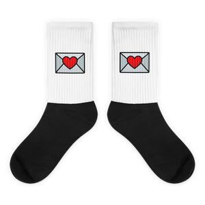 Love Email Emoji (White/Black Socks)