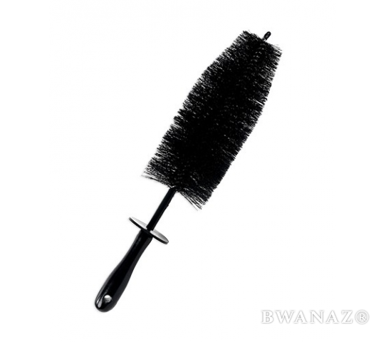 "Spoke Wheel Brush with Wooden Handle 18"" Black 