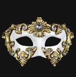 Colombina Barocco Venetian Mask in Gold Leaf on White