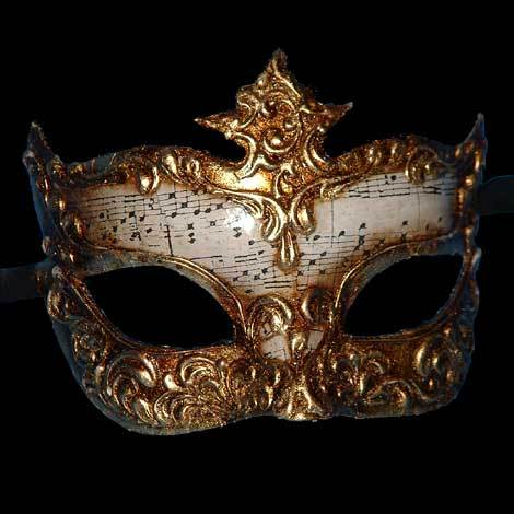 Colombina Musica Dona Venetian Mask in White and Gold