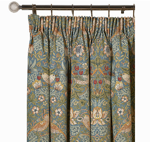 <p>Pair of lined curtains in William Morris Strawberry Thief Slate design - 228 cm drop.</p>