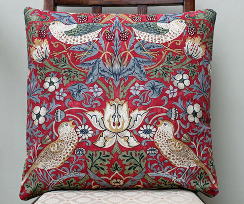 <p>Cotton cushion cover in William Morris Strawberry Thief crimson print. Morris & Co by Sanderson fabric.</p>