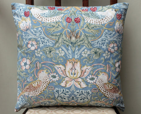 <p>Cotton cushion cover in William Morris Strawberry Thief slate print. Morris & Co by Sanderson fabric.</p>