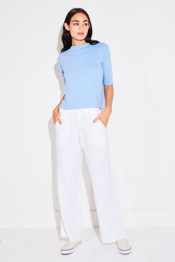 HIGH WAISTED PANT IN WHITE LINEN