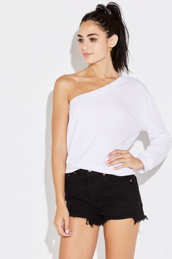 ONE SHOULDER SWEATSHIRT IN WHITE MINERAL TERRY