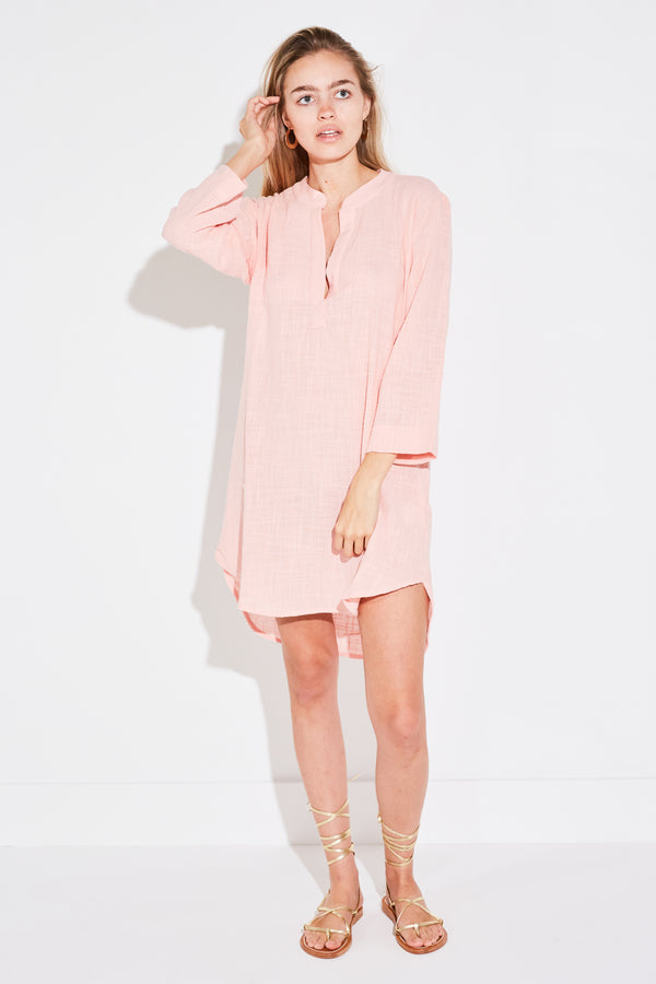 TUNIC MINI DRESS IN PALE PINK