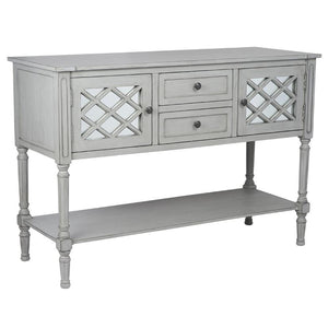 Dove Grey Mirrored Pine Wood Dresser