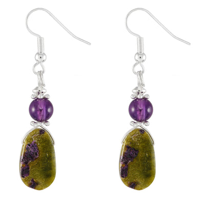 Stitchtite and Amethyst Purple and Green Drop Earrings