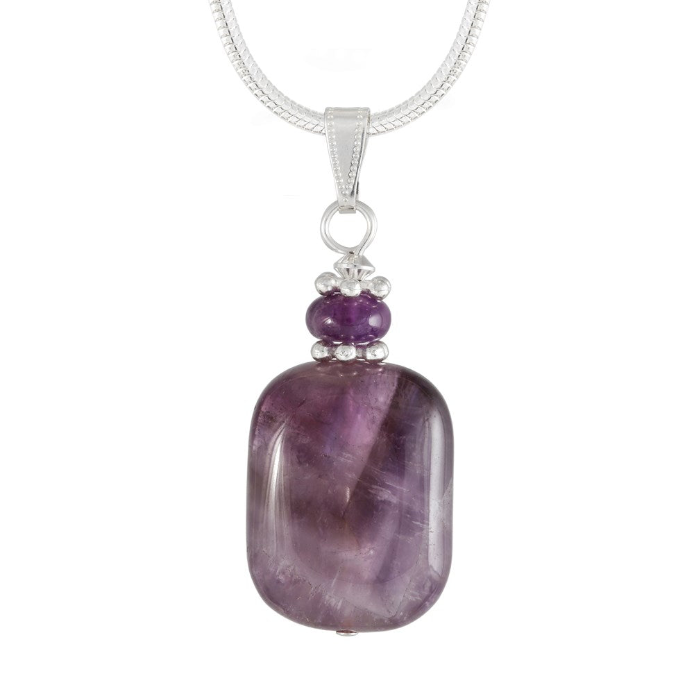 Amethyst purple necklace, pendant with silver plated snake chain