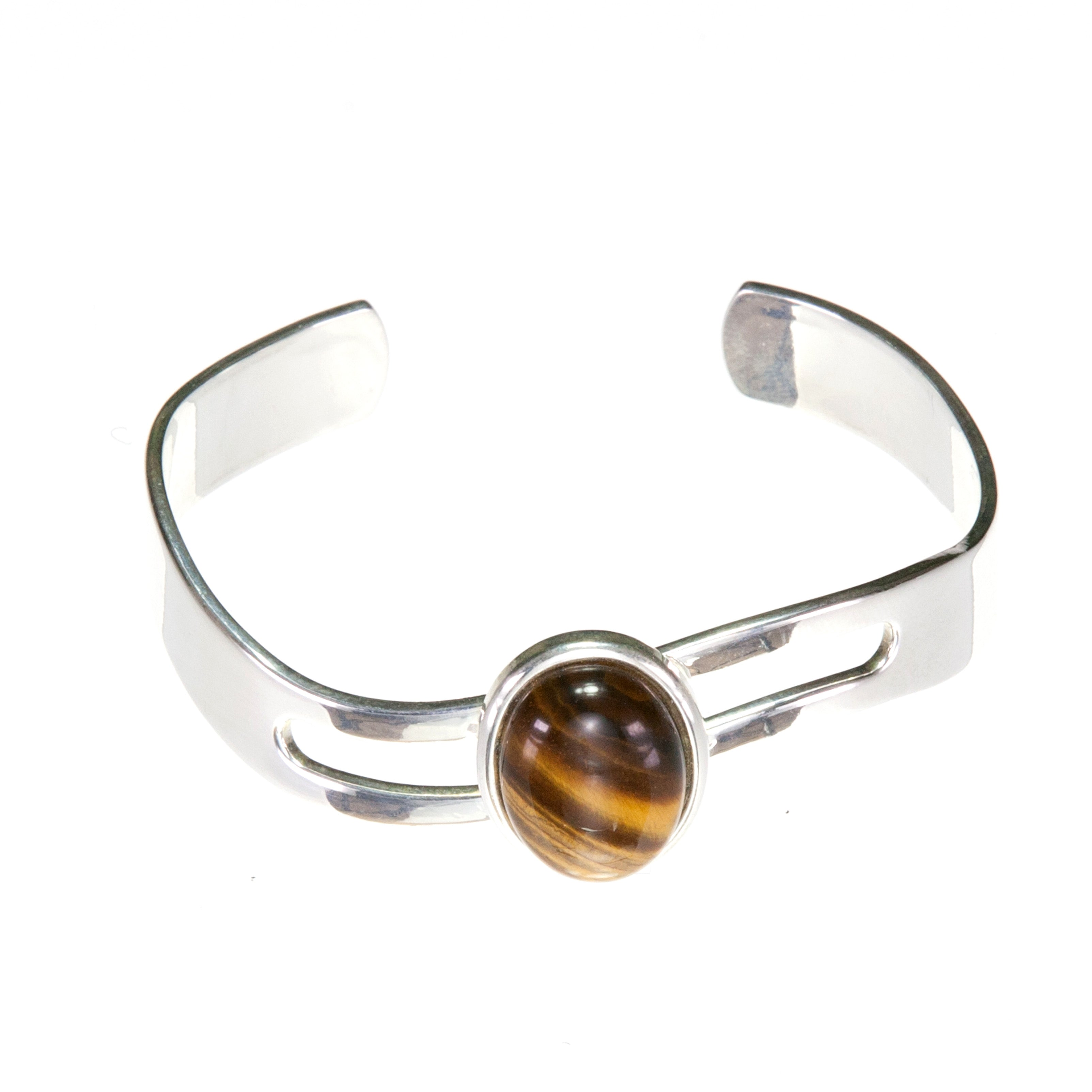 Adjustable Bangle with flattering wave shaped adjustable cuff and large Golden Brown Tiger's Eye Cabochon