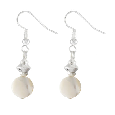 Cream Mother of Pearl Drop Earrings with Silver Plated Detail and Earring Hooks
