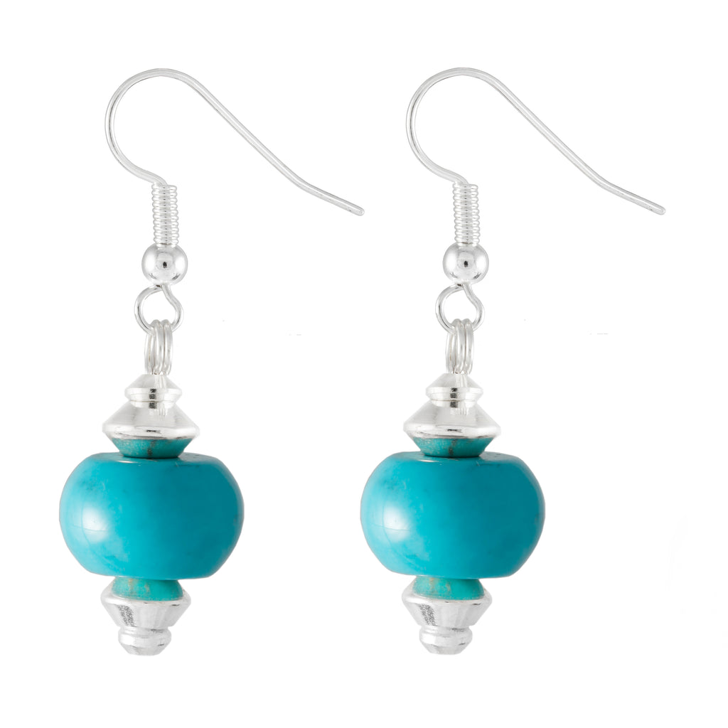 Turquoise Barrel Shaped Drop Earrings