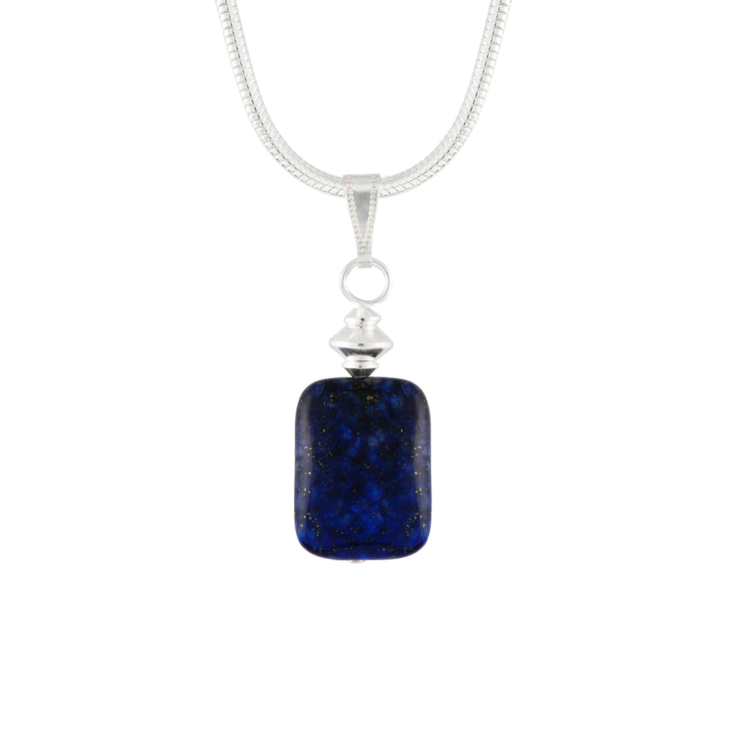 Lapis Lazuli small Blue Rectangular Gemstone Necklace