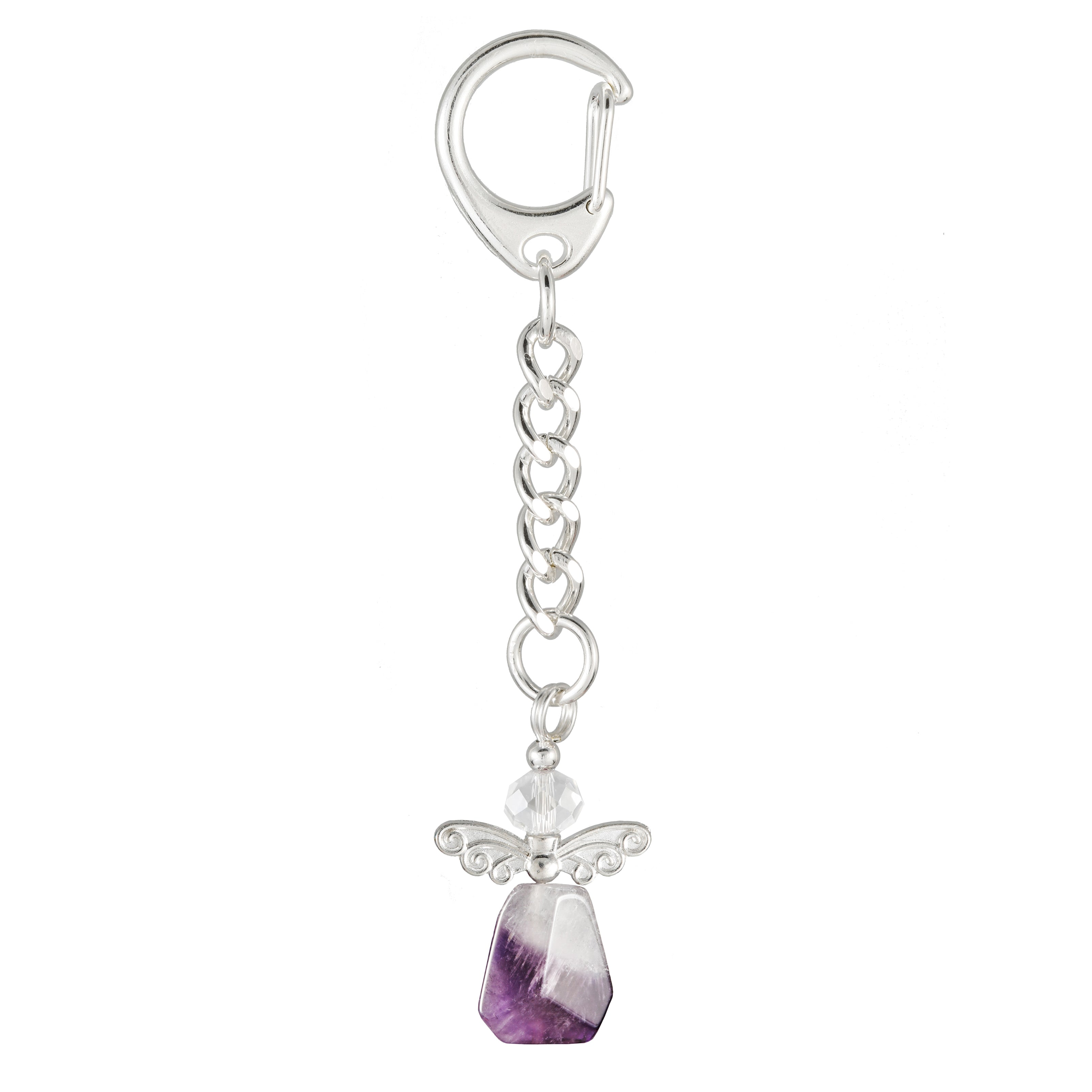 Purple Amethyst Angel Keyring