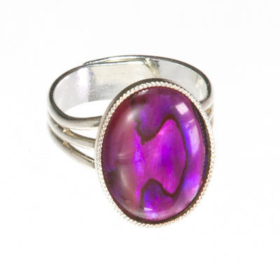 Bright Pink/Purple Abalone Shell Oval Ring - adjustable