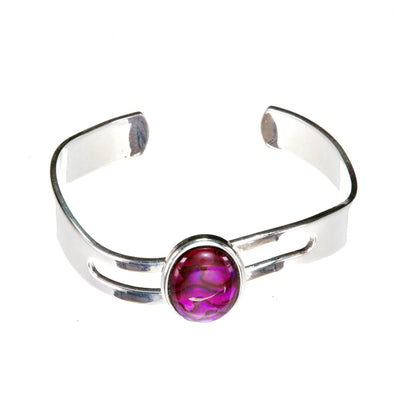 Adjustable Bangle with Large Bright Pink Abalone Cabochon and Silver Plated Wave Shaped Cuff