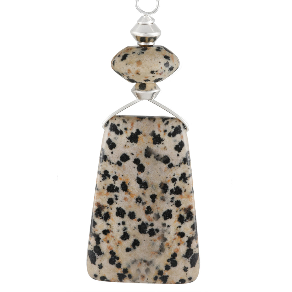 Black and Cream Dalmation Jasper Necklace with silver plated snake chain