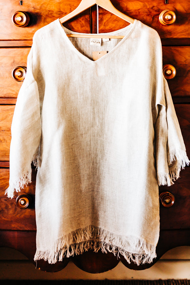 loose-weave linen tops with fringing