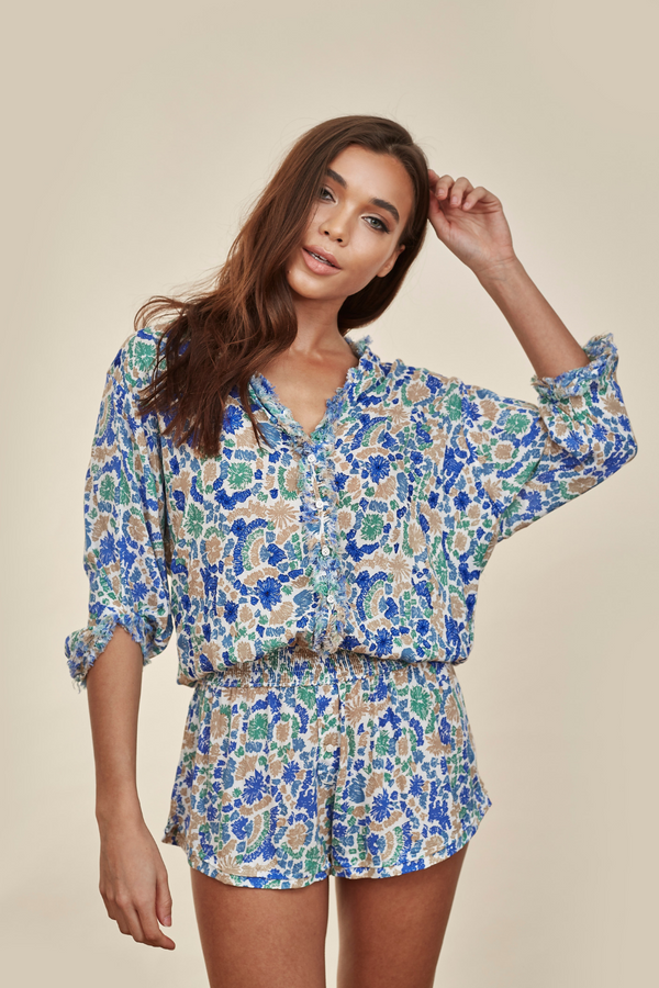 Ilona Broderie Blue Yvonne Playsuit