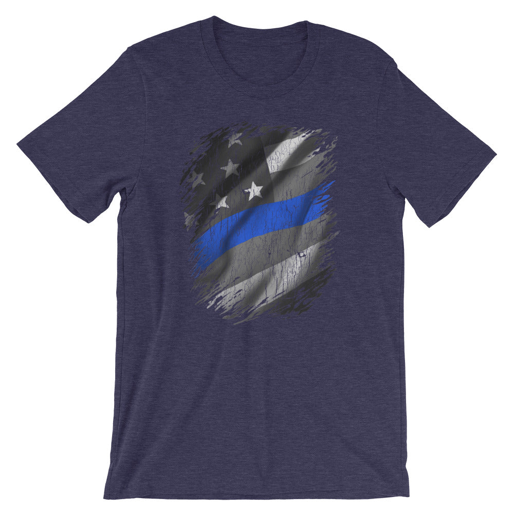 Thin Blue Line American Flag T-Shirt Support Police Law Enforcement Tee