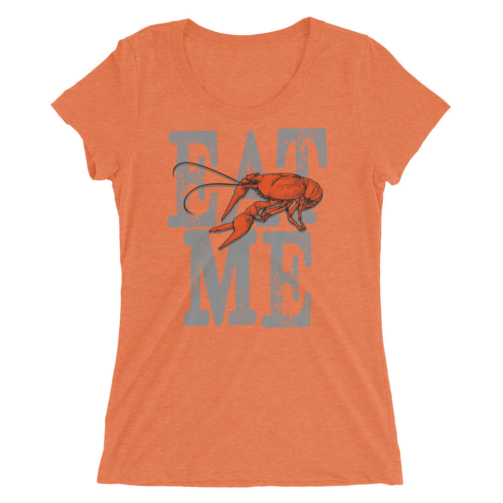 Eat Me Crawfish Tee for Women, Short Sleeve Vintage Look Distressed