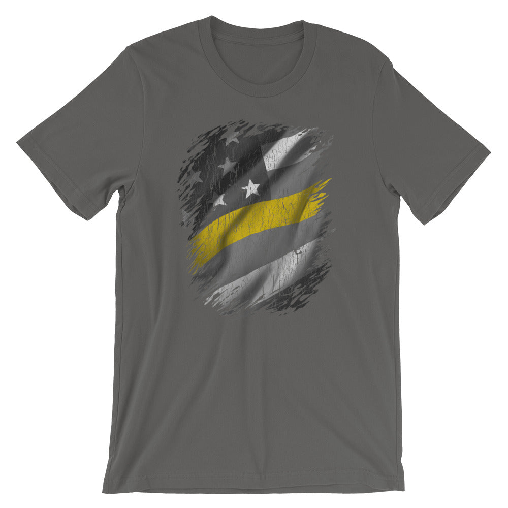 Thin Gold Line American Flag TShirt Dispatcher 911 Operator Unisex Tee