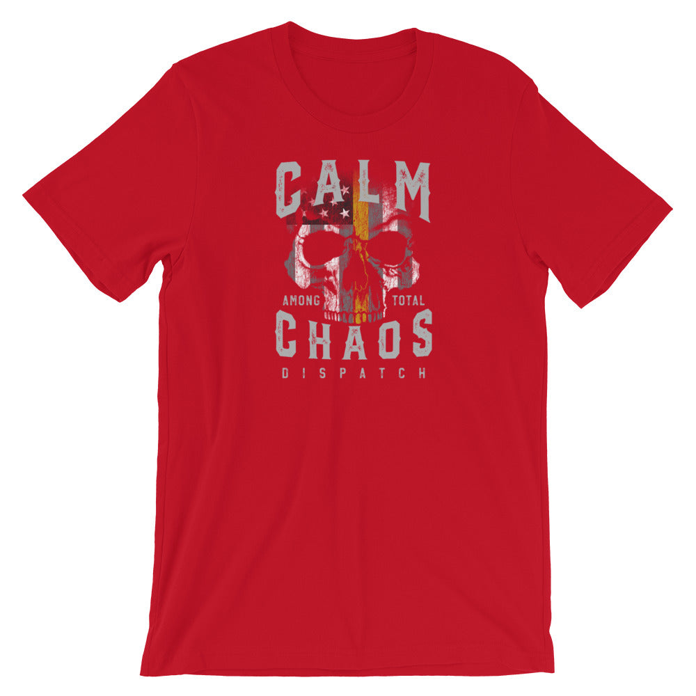 Dispatcher T Shirt, Calm Among Total Chaos Skull Shirt. Law Enforcement, EMS, Fire Department Dispatcher T Shirt