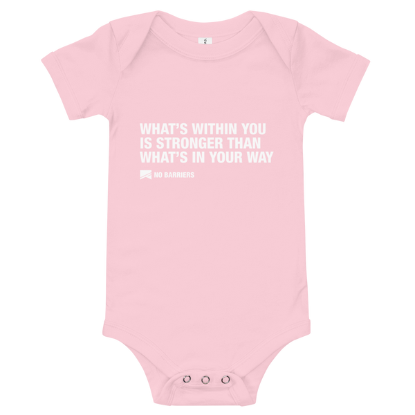 Baby Onesie - No Barriers Apparel - Pink / 3-6m