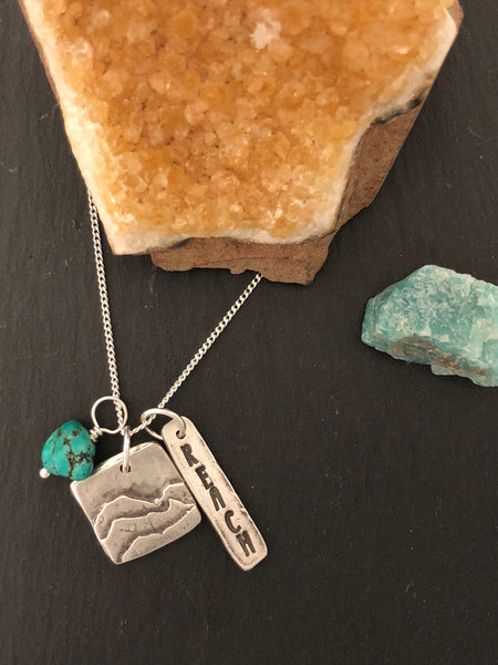 "Square Silver Mountain Pendant with ""Reach"" & Turquoise Charms and Chain - No Barriers Jewelry -"