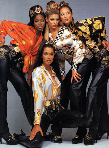 Naomi Campbell and Models for Gianni Versace Campaign