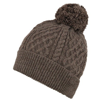 Accessories Men's Classic Brown Cable Knit Beanie from Pretty You London