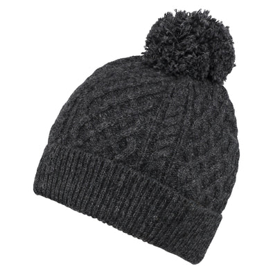 Accessories Men's Classic Charcoal Grey Cable Knit Beanie from Pretty You London